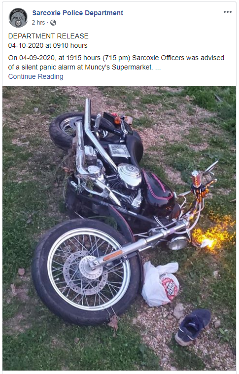 Facebook Post Of Crime From Sarcoxie Police Department, Mo., April 2020