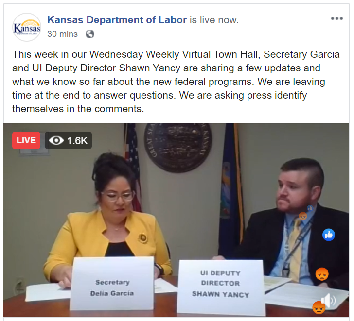 Kansas Department Of Labor Facebook Live Image