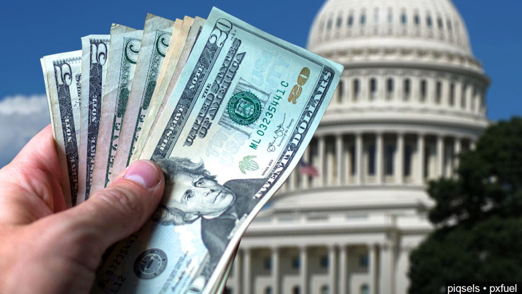 Money With Government Building