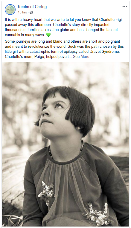 Realm Of Caring Facebook Post About The Passing Of Charlotte Figi