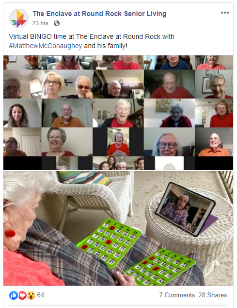 The Enclave At Round Rock Senior Living Facebook Post About Virtual Bingo