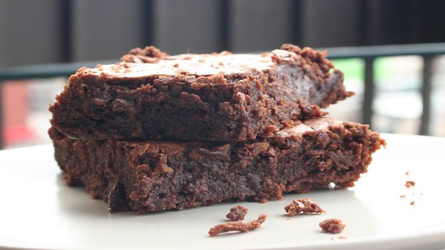 Triple-chocolate brownies with cassis
