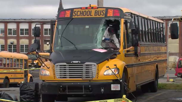 Deer crashes through school bus windshield