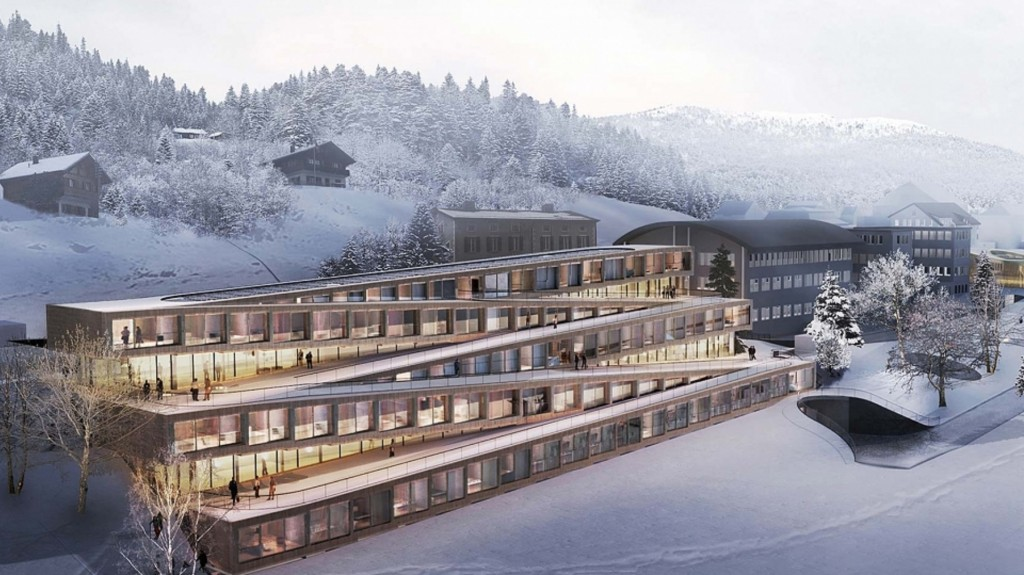 Ski down the roof of this new Swiss hotel