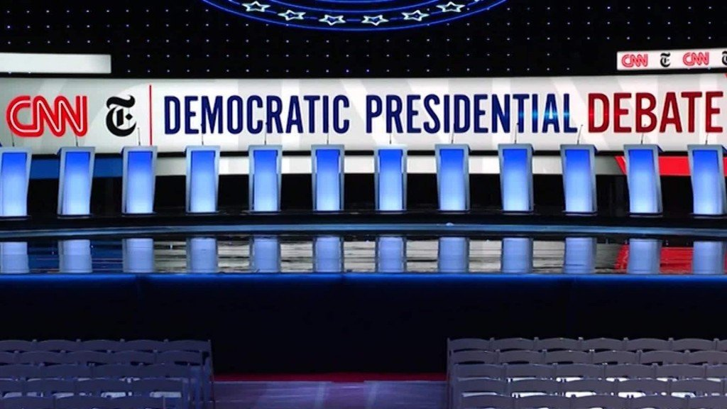 Time-lapse: Democratic presidential debate stage setup