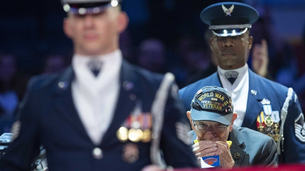 WWII vet wows NBA crowd with harmonica rendition of anthem
