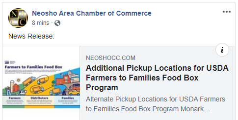 Neosho Area Chamber Facebook Post