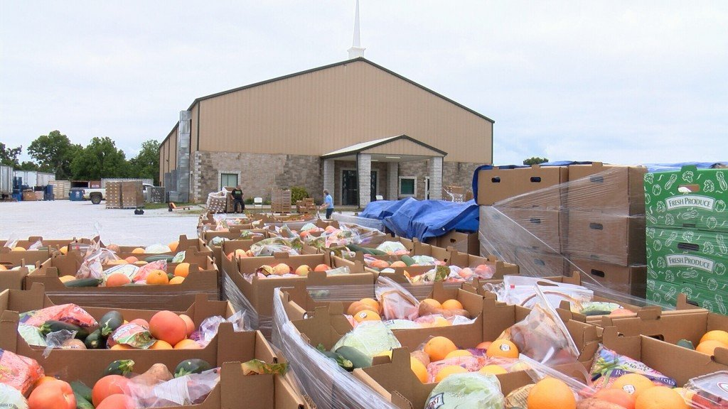Monark Southern Baptist Church distributes food to families in need.