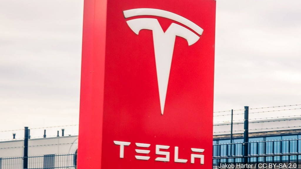 Tesla Emblem On A Sign