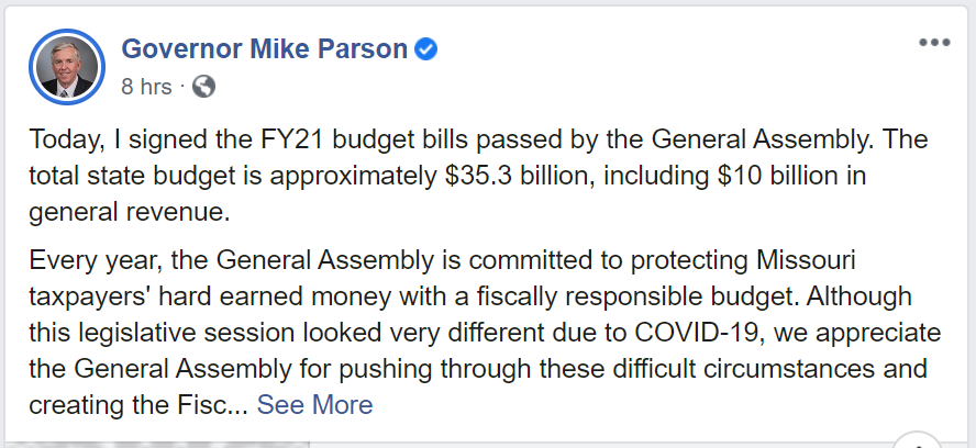 Governor Mike Parson, Budget Social Media Post