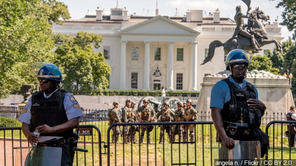 Police Officers Stand Guard In Front Of The White House, Photo Date 612020