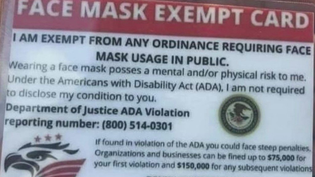 Face Mask Exemptions In The Four States