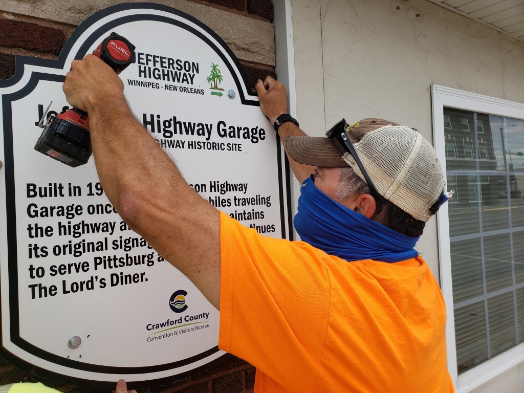 Historical Marker For Jefferson Highway In Pittsburg, July 13, 2020