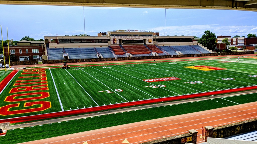Pitt State football new turf Carnie Smith Stadium