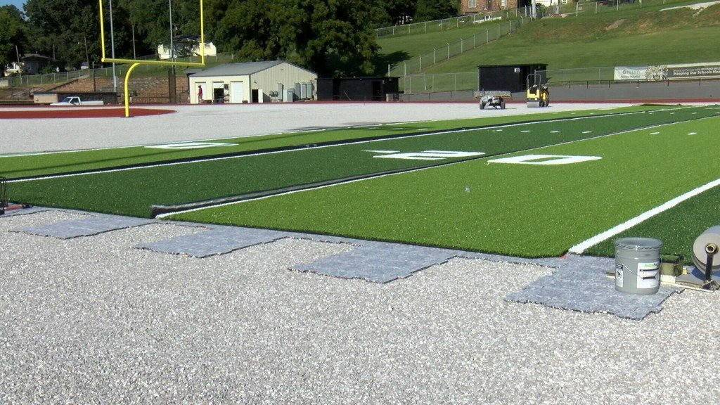 Artificial turf is being put down at Bob Anderson Stadium, and is more than half way complete, with a little over a month before the Wildcats' scheduled home opener against Republic.