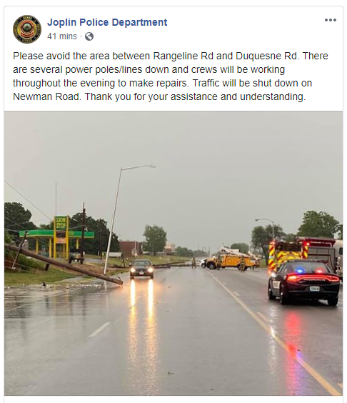 Poles Down In Joplin, Roads Blocked, July 2, 2020