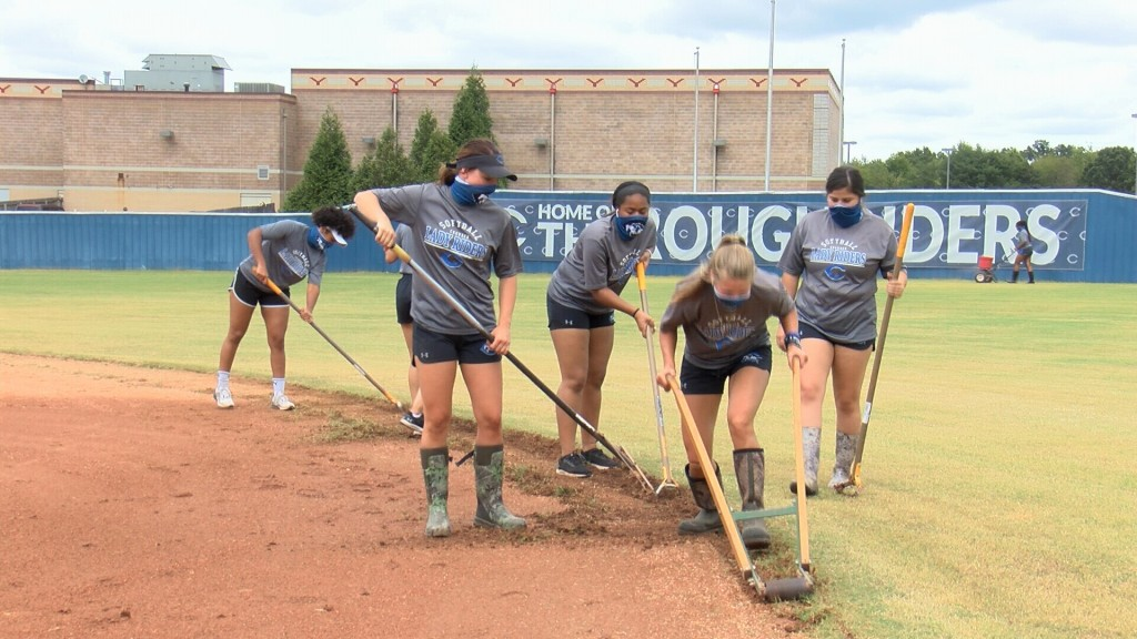 Crowder College softball does all field maintenance at home.