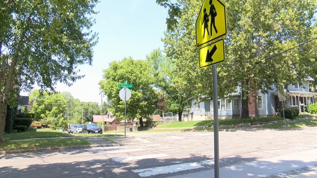 Crosswalk Sign Near Columbia Elementary