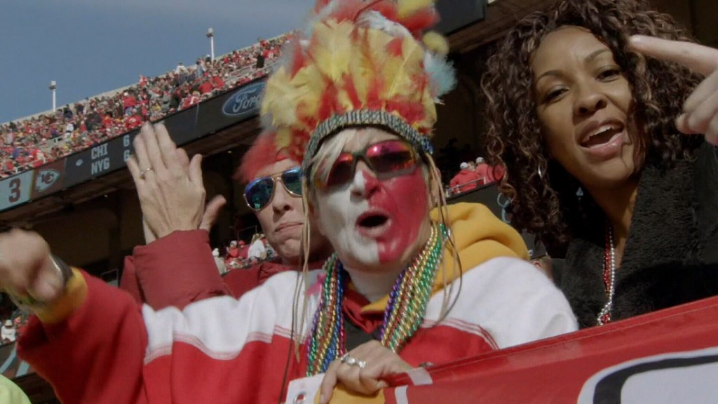 Chiefs Fan Wearing An American Indian Head Dress