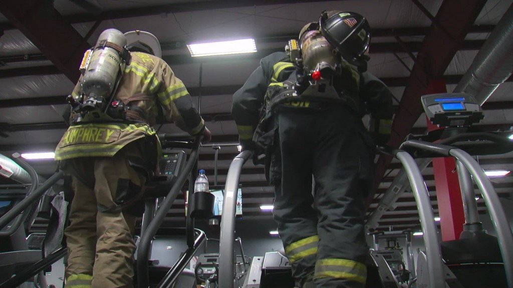 Area Firefighters climbing a stairmaster
