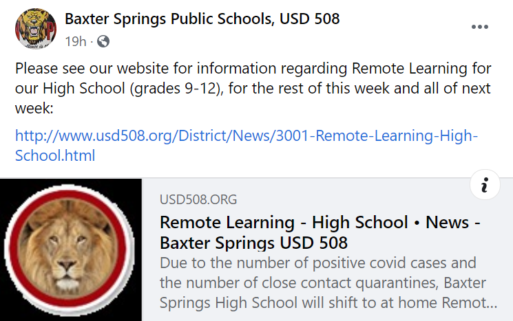 Baxter Springs Remote Learning, Sept 9, 2020