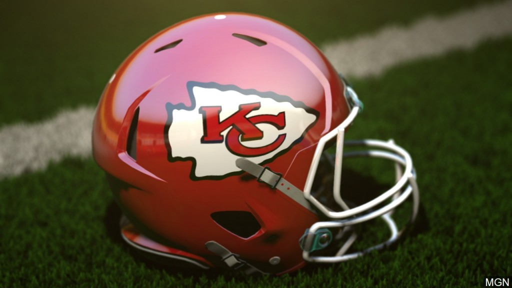Kansas City Chiefs Helmet On Field, Mgn Image