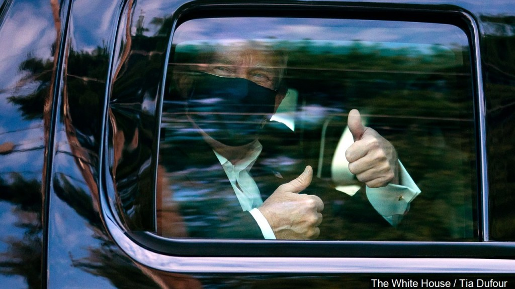 President Donald Trump Leaves The Hospital To Drive By Supporters