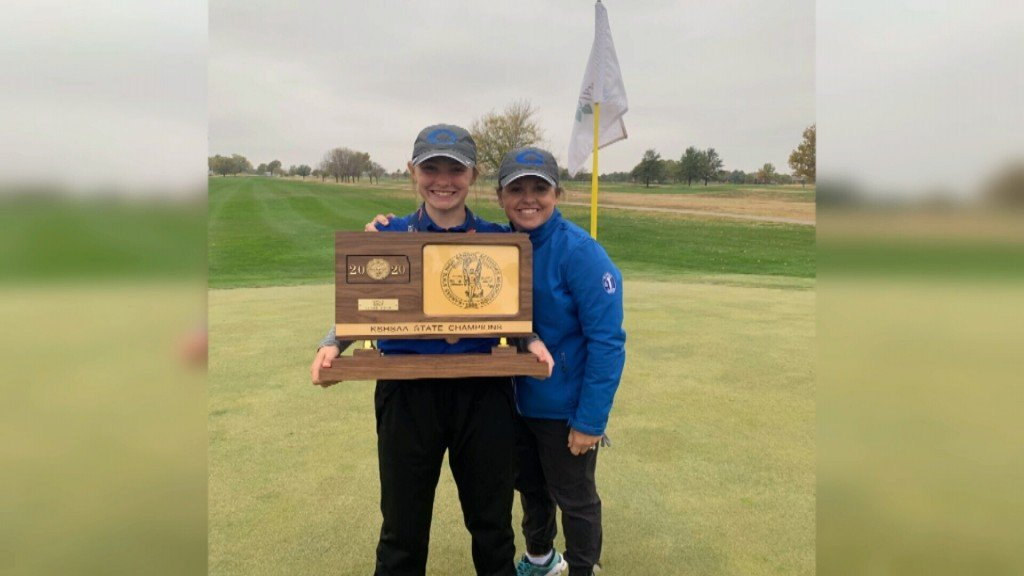 Ali and Kim Scripsick after Colgan girls won the 3-2-1A state golf tournament.