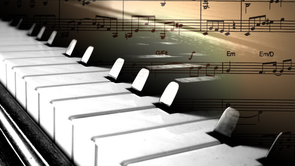Piano With Sheet Music Background