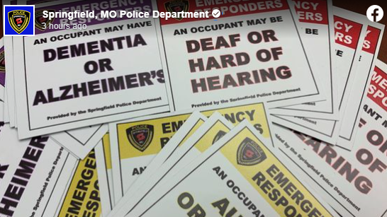 Springfield Mo Police Department Alert Stickers, Facebook Post