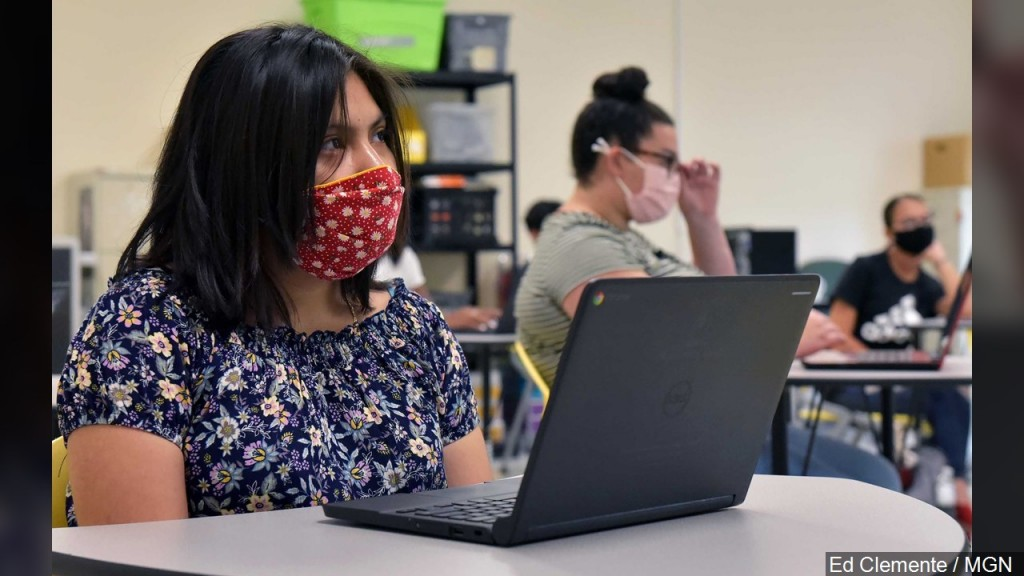 Students Sit In A Classroom Wearing A Face Mask