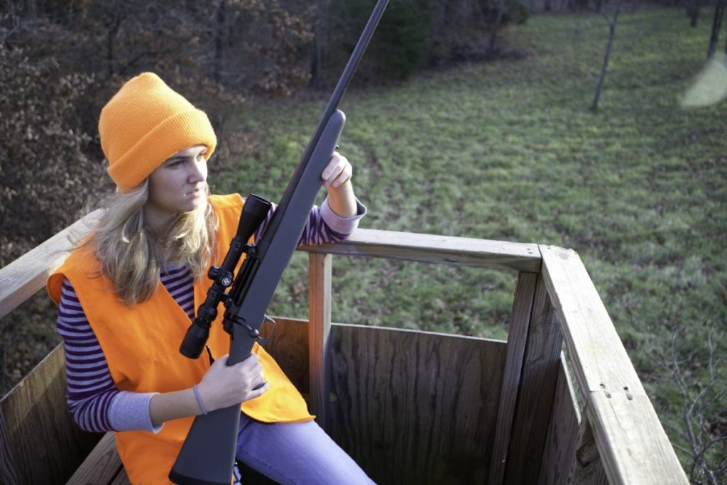Woman In Deer Stand With Rifle, Mdc Image