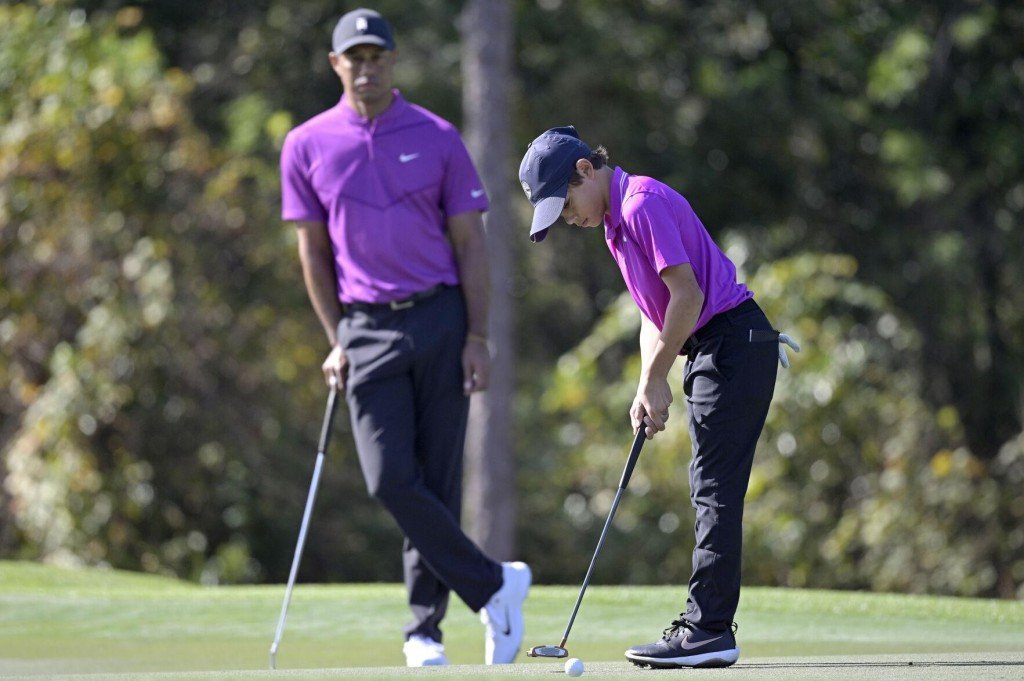 Tiger Woods' Son Makes Tv Debut And Plays Like Dad