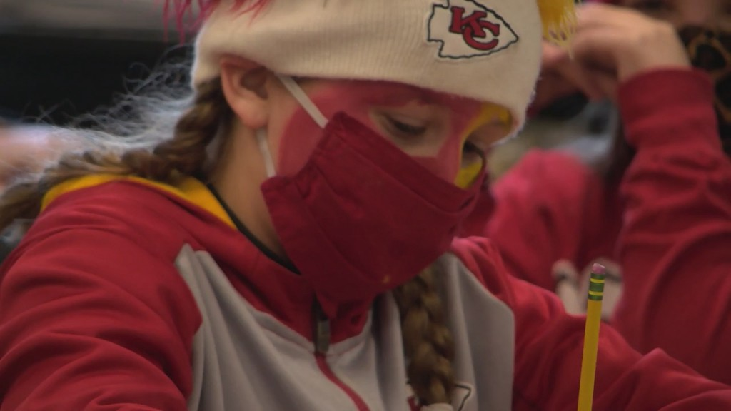 Kids In Carthage dressed up in chiefs gear