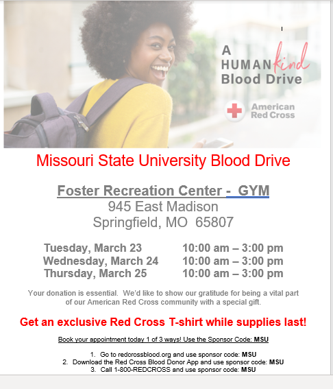 2021 Missouri State Spring Blood Drive March 23 25 Flyer