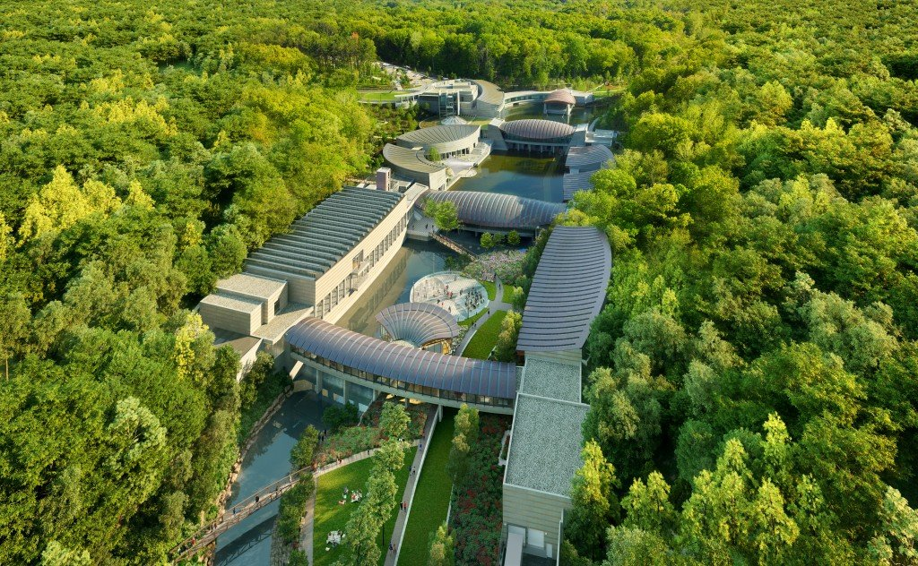 1 Aerial Of Crystal Bridges Looking South Courtesy Of Safdie Architects