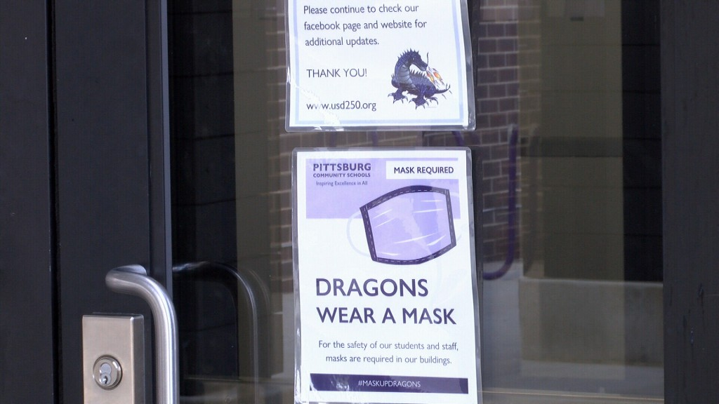 Sign Telling Pittsburg Students To Wear A Mask