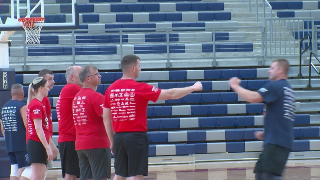 """Joplin's Fire And Police Departments Went Head To Head This Evening In A """"guns And Hoses"""" Basketball Match"""