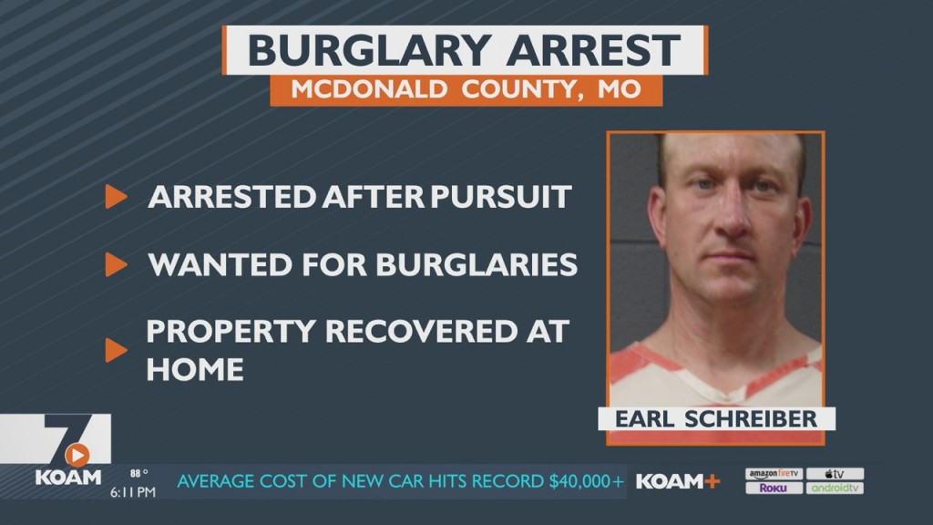 Suspect Earl Schreiber Arrested In Mcdonald County In Connection With Several Burglaries.