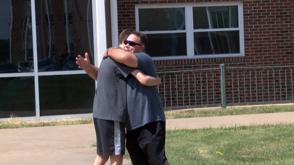 A Father Hugs His Son Goodbye On Move In Day At Mssu