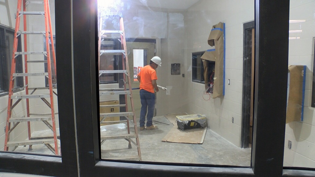 A Construction Worker Works On The Jasper County Jail Expansion