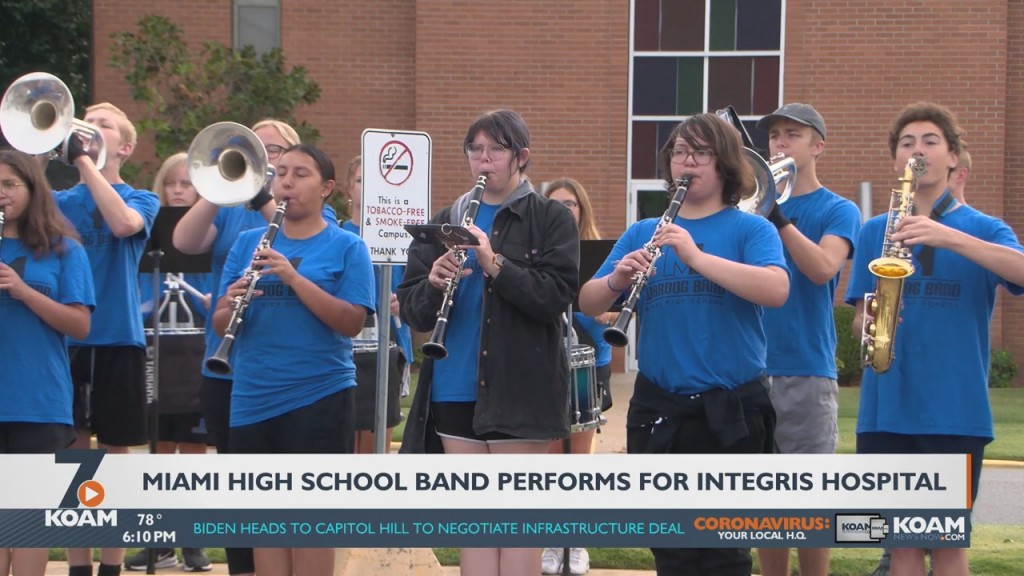 Miami High School Band Plays For Frontline Workers