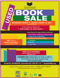 Lawrence Family JCC Annual Used Book Sale @ First floor of the Lawrence Family JCC, JACOBS FAMILY CAMPUS  |  |  |
