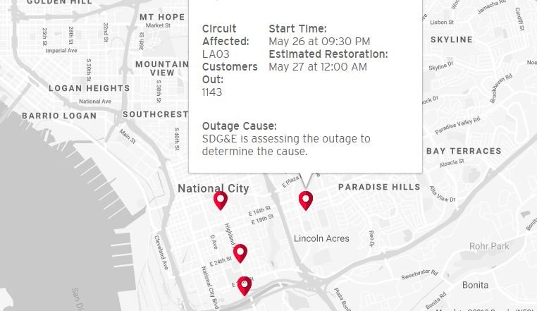 Over 1,500 SDG&E customers without power in National City on xcel energy power outage map, pepco power outage map, pse power outage map, ppl power outage map, puget sound energy power outage map, smud power outage map, dte power outage map, aps power outage map, psnh power outage map, pg&e power outage map, austin energy power outage map, avista power outage map,