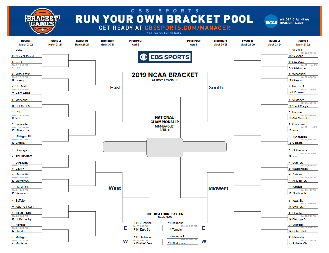 picture relating to Printable Nit Bracket called Printable 2019 NCAA NIT Brackets -