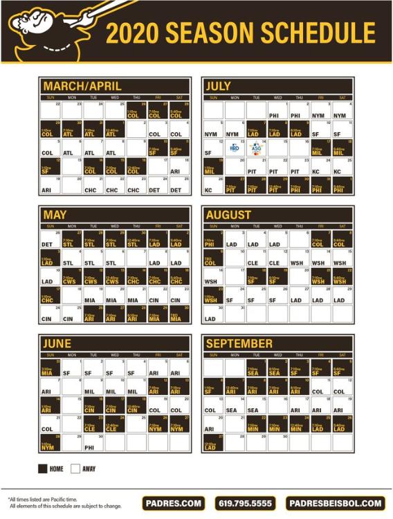 Mariners Home Schedule 2020.San Diego Padres Release 2020 Schedule
