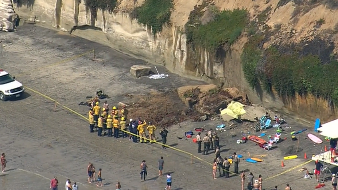 Three dead, two injured in bluff collapse in Encinitas -