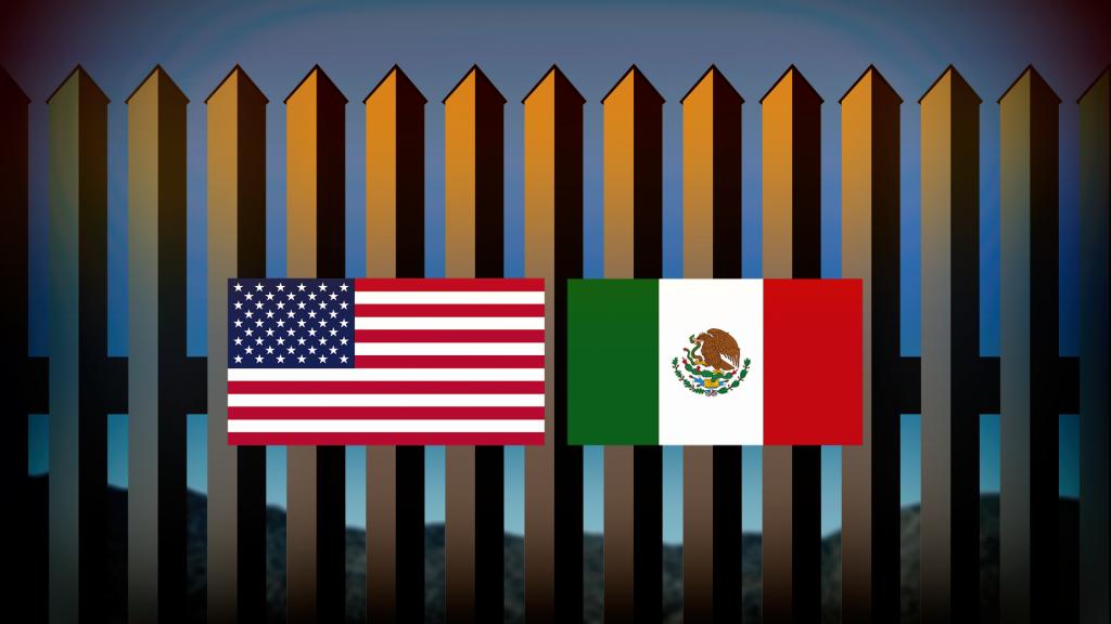 Us Mexico Flags Border Wall