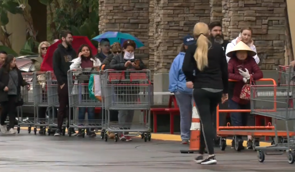 Costco Shoppers In Line