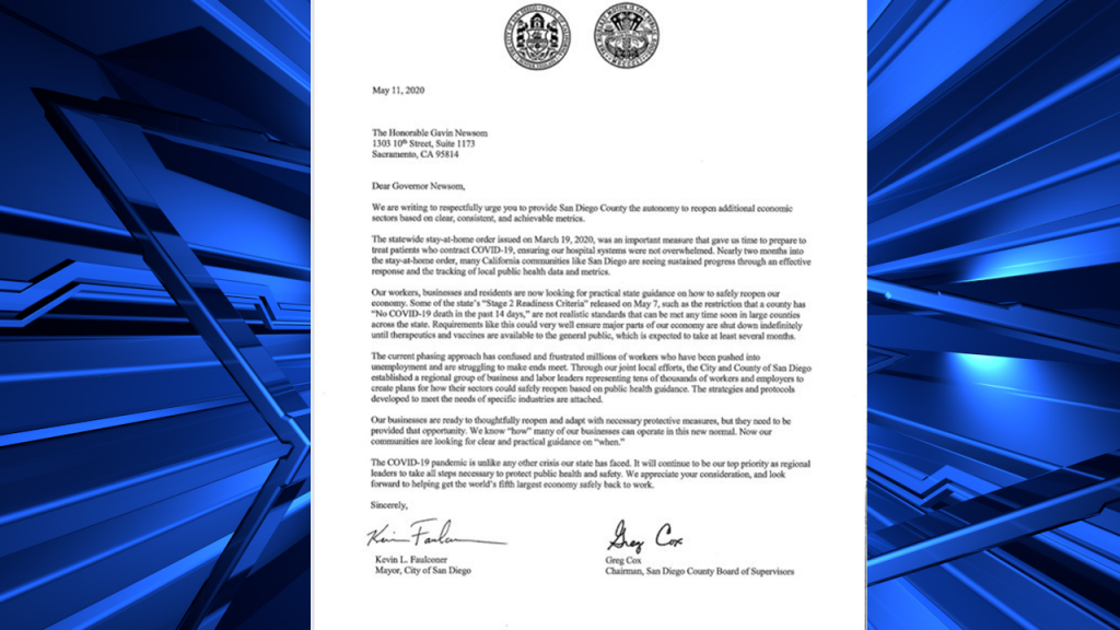 Faulconer And Cox Letter To Gavin Newsom